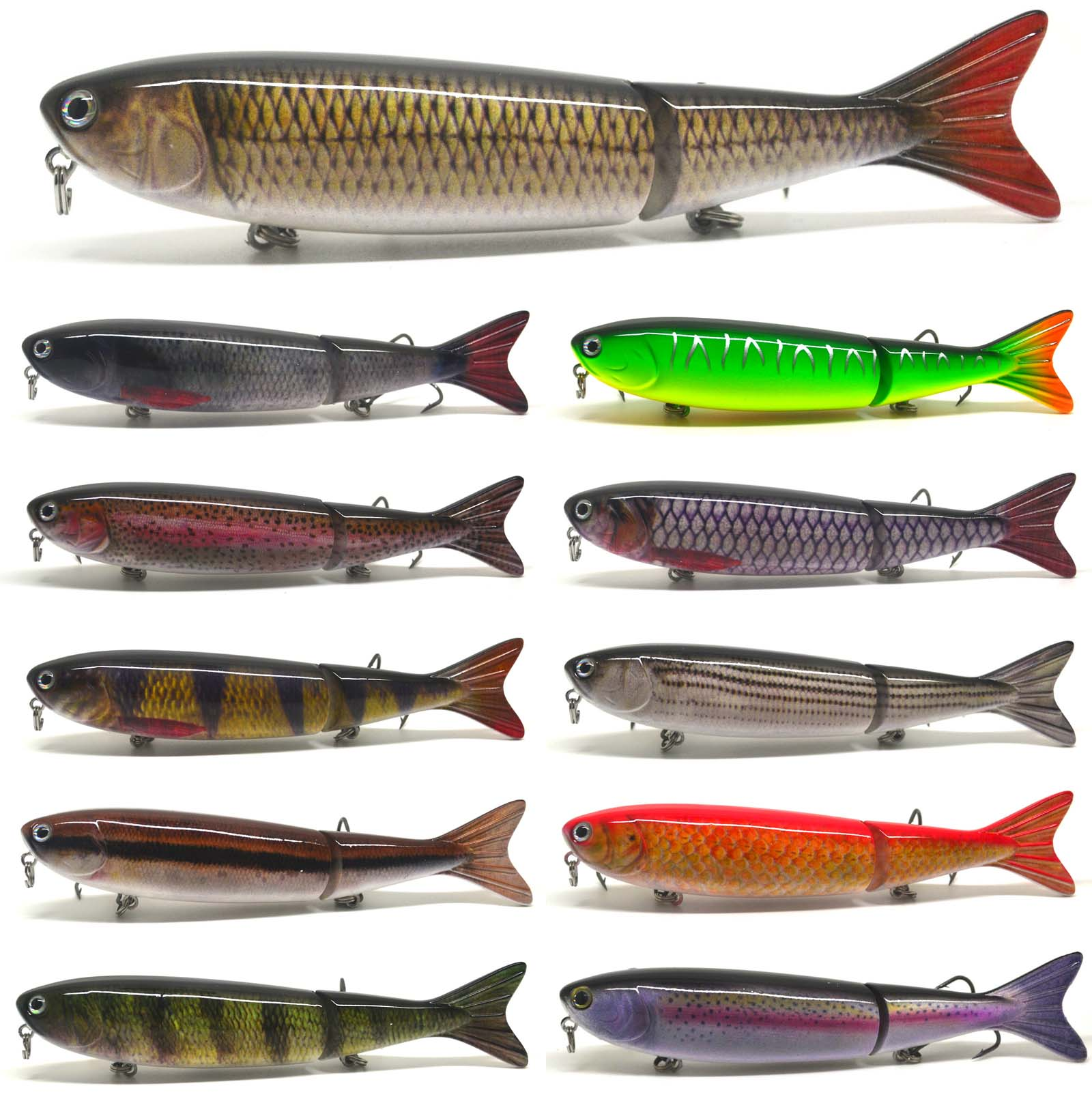 Multi jointed bass pike perch fishing bait swimbait lure for Perch fishing lures